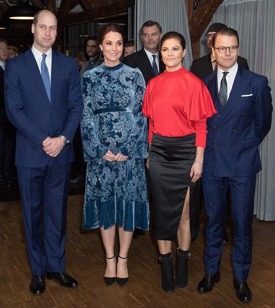 Princ William, vévodkyně Kate, korunní princezna Victoria a princ Daniel