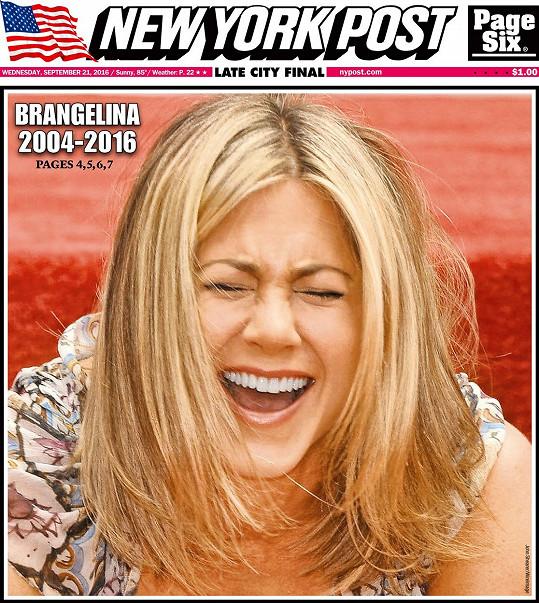 Takhle Jennifer Aniston vyobrazil deník New York Post.