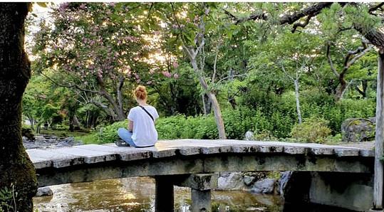 Navštěvuje hodně zenových zahrad.