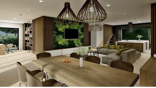 Takhle bude vypadat obývací pokoj s jídelnou.