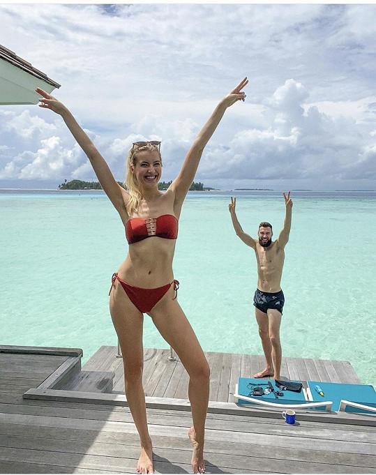 Jitka Nováčková si užívá s přítelem Timem na Maledivách.