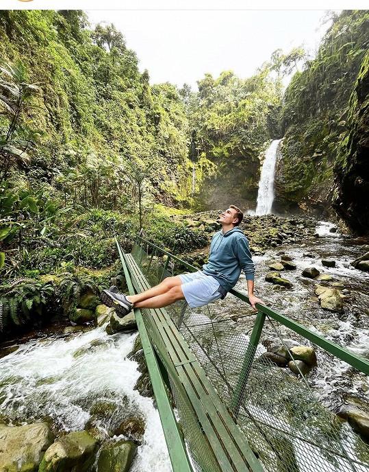 David u jednoho z vodopádů