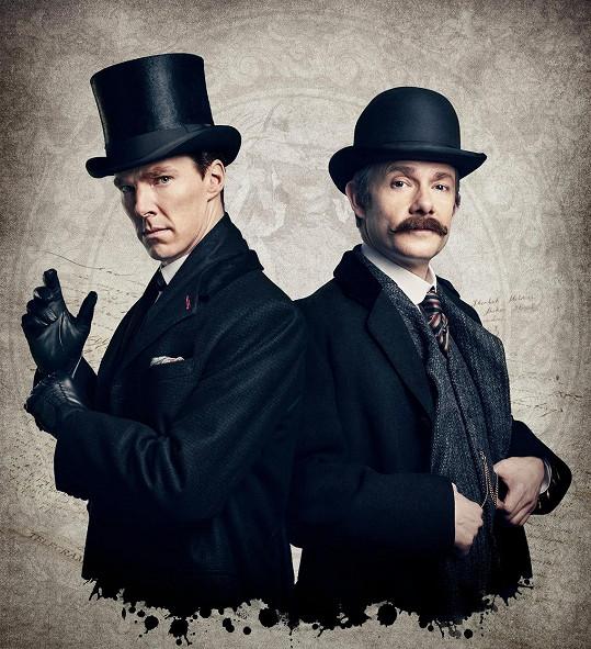 Martin Freeman s Benedictem Cumberbatchem v Sherlockovi