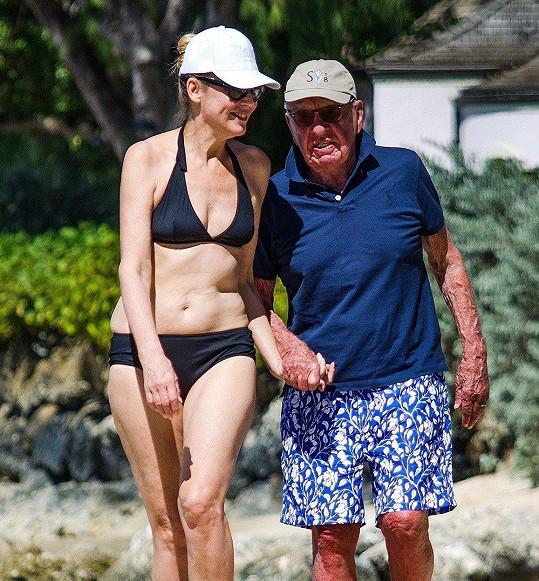 Jerry Hall s manželem Rupertem Murdochem