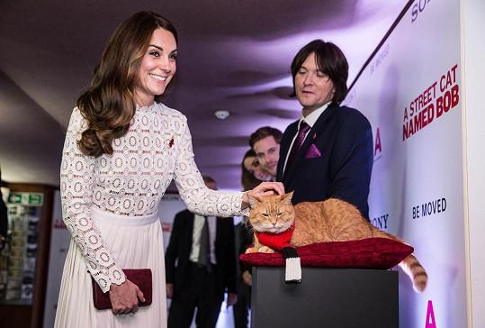 Setkání s kočičí filmovou hvězdou vévodkyni vykouzlilo úsměv na tváři.