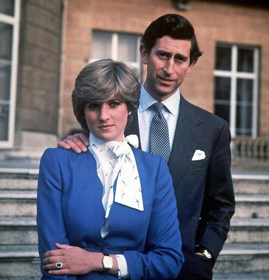 V únoru 1981 při oznámení zásnub s Charlesem