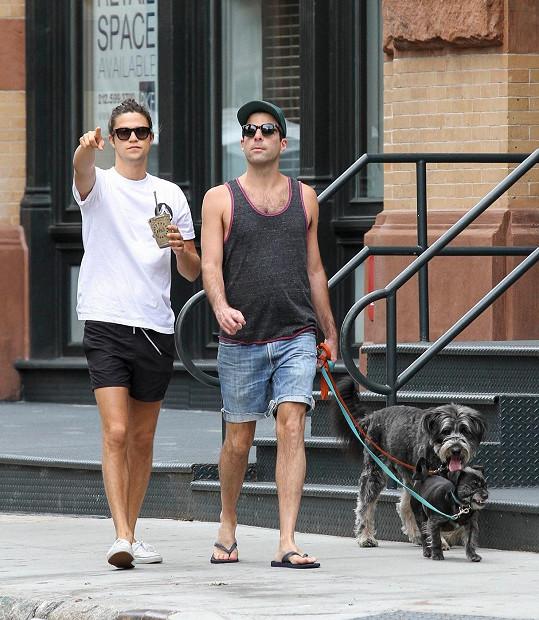Zamilovaný páreček si vyšel na procházku se psy.