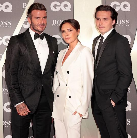David Beckham s manželkou Victoriou a nejstarším synem Brooklynem