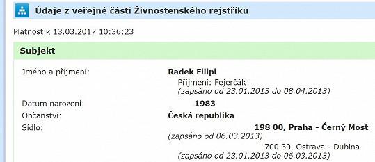 Radek Filipi se před čtyřmi lety jmenoval Fejerčák
