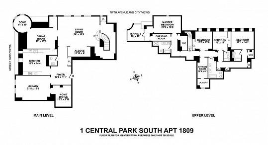 Plán dvoupodlažního bytu