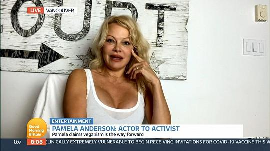 Pamela Anderson promluvila o veganství a sexu v pořadu Good Morning Britain.