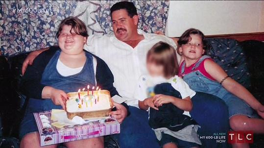 S tatínkem měla později spokojenější dětství, přesto dál přibírala.