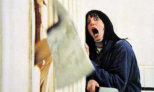 Shelley Duvall jako Wendy Torrance v hororu Osvícení, při této scéně vůbec netušila, co se bude dít.