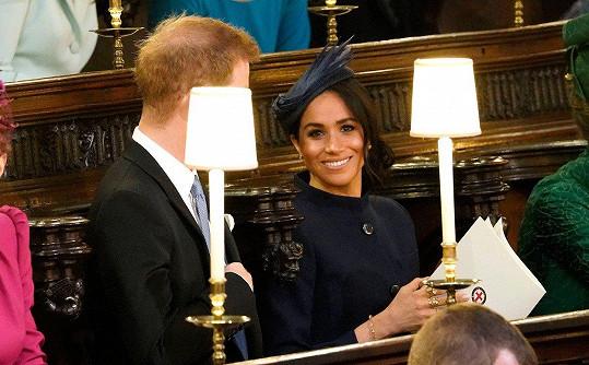 Meghan a Harry na svatbě princezny Eugenie