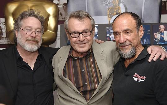 Hulce s režisérem Milošem Formanem a hereckým kolegou z filmu Amadeus F. Murrayem Abrahamem.