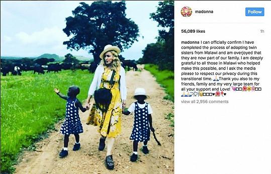Madonna potvrdila, že se stala maminkou dvojčátek z Malawi.