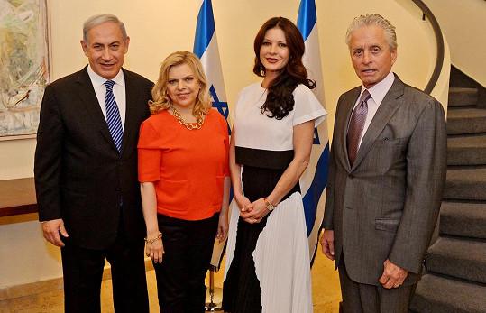 Douglas a Zeta-Jones s izraelským premiérem a jeho manželkou