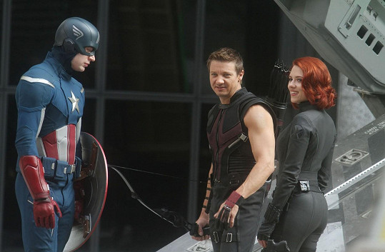 Jako Black Widow při natáčení Avengers