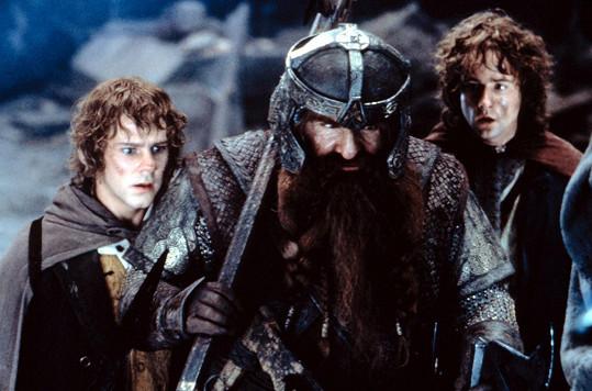 Zleva Dominic Monaghan, John Rhys-Davies a Billy Boyd v prvním díle slavné trilogie