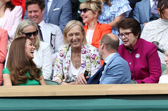 Kate a William se pozdravili s tenisovou legendou Martinou Navrátilovou.