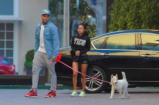 Rapper s partnerkou Karrueche Tran a jejich psem
