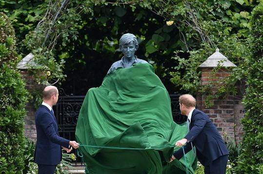 Údajně znesváření bratři odhalili sochu princezny Diany.