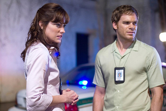 Jennifer Carpenter s exmanželem Michaelem C. Hallem v Dexterovi