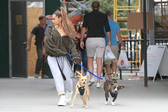 Ariana Grande má celkem devět psů. Na snímku s Toulousem a Myronem