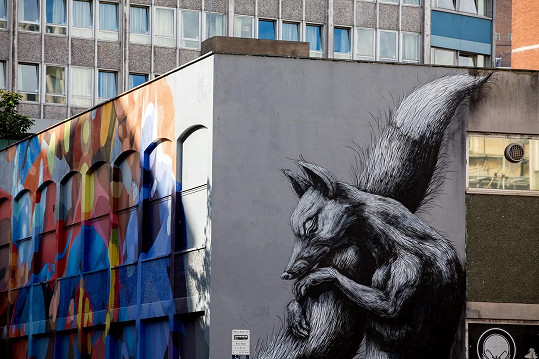 Zvířata jsou nejčastějším motivem belgického street artisty, který si říká ROA. Liška je z Bristolu.