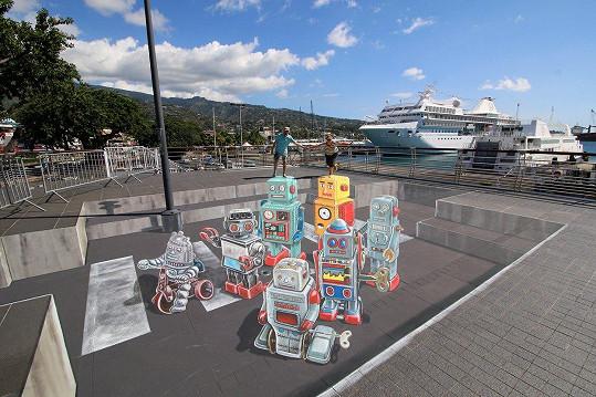 Také roboti jsou jeho dílem. Vytvořil je na Tahiti.