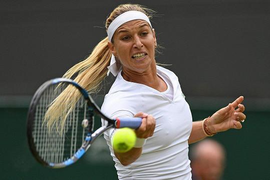 Dominika Cibulková na tenisovém kurtu