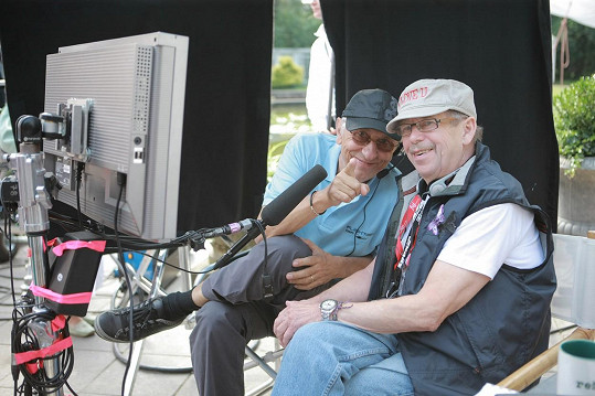 Jan Malíř s Václavem Havlem při natáčení filmu Odcházení (2010)