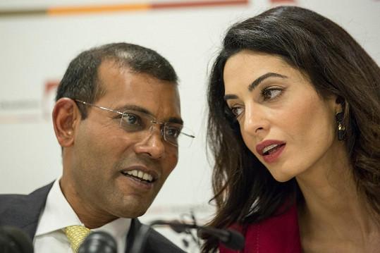Amal Clooney a bývalý maledivský prezident Mohamed Našíd