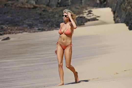Sexy modelka byla ozdobou pláže.