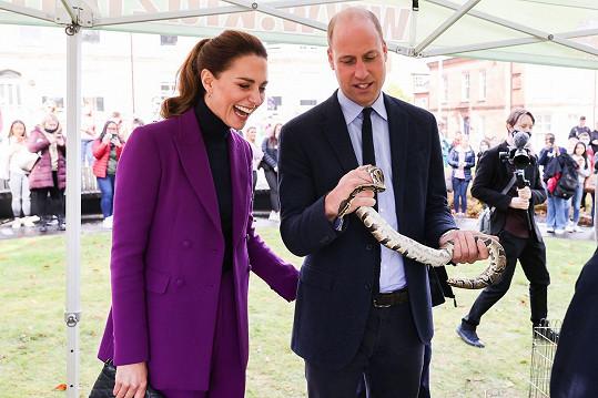 Williamovi přenechala mazlení s hadem.