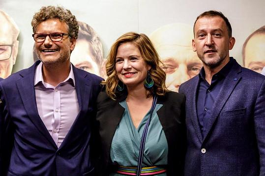 Patrik Hartl, Zuzana Norisová a Martin Hofmann na premiéře