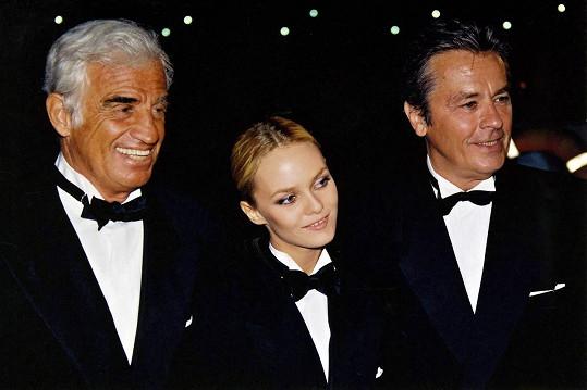 Jean-Paul Belmondo s Vanessou Paradis a Alainem Delonem na premiéře snímku Poloviční šance.