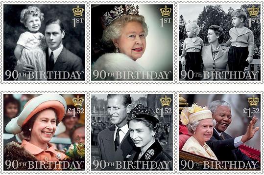 Královna se u příležitosti životního jubilea dočkala kolekce známek.