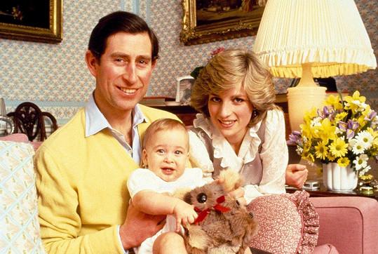 Dvouletý William s rodiči, princem Charlesem a princeznou Dianou