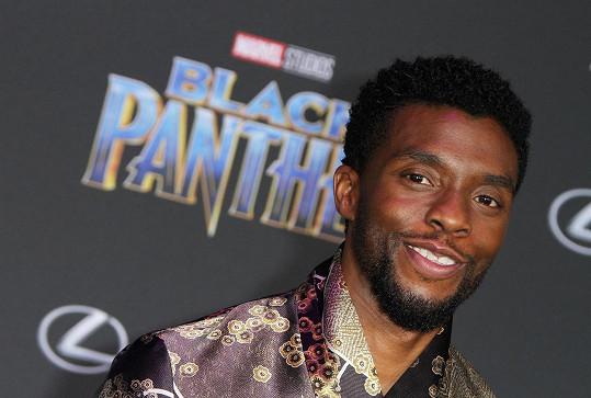Chadwick Boseman před plakátem k filmu Black Panther, jenž patřil k jeho nejslavnějším.