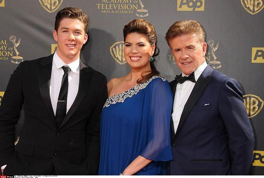 Alan Thicke s manželkou a synem na loňském udílení cen Emmy