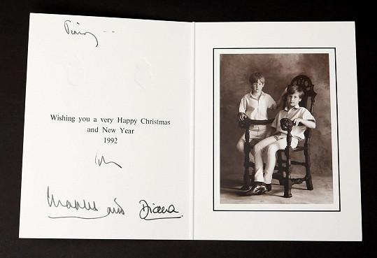 Přání Diany a Charlese s fotkou princů z roku 1992