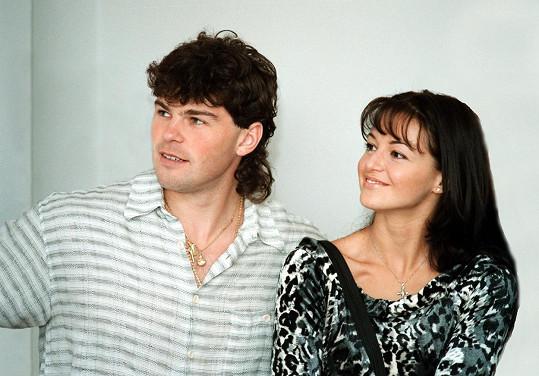 Iva Kubelková s Jaromírem Jágrem v roce 1998