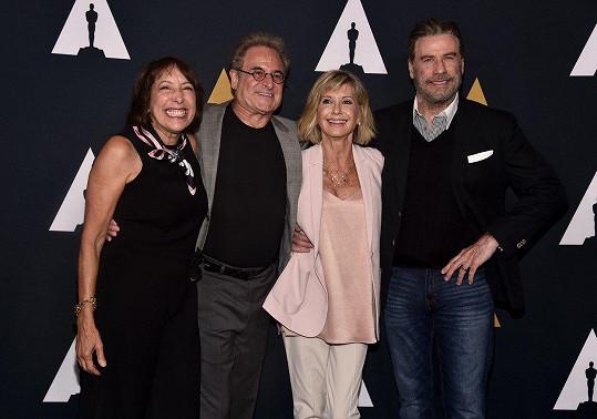 Didi Conn, Barry Pearl, Olivia Newton-John a John Travolta (zleva) se sešli u příležitosti 40. výročí Pomády.