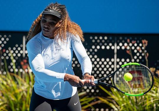 Serena Williams během tréninku
