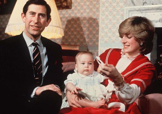 Princ z Walesu s Dianou a Williamem v roce 1982