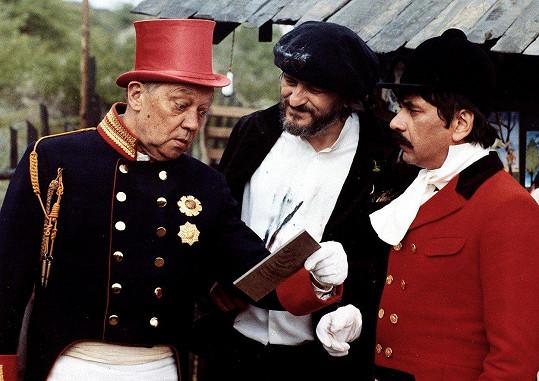 Rudolf Hrušínský, Milan Lasica a Petr Čepek ve filmu Tři veteráni (1983)