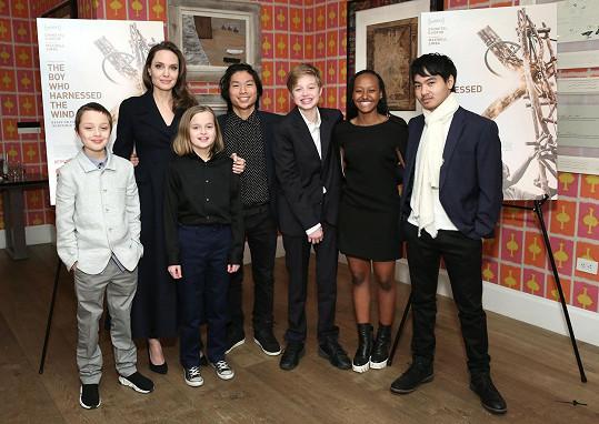 Angelina Jolie se svými šesti dětmi: zleva Knox, Vivienne, Pax, Shiloh, Zahara a Maddox