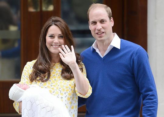 Princezna se šťastnými rodiči v den svého narození