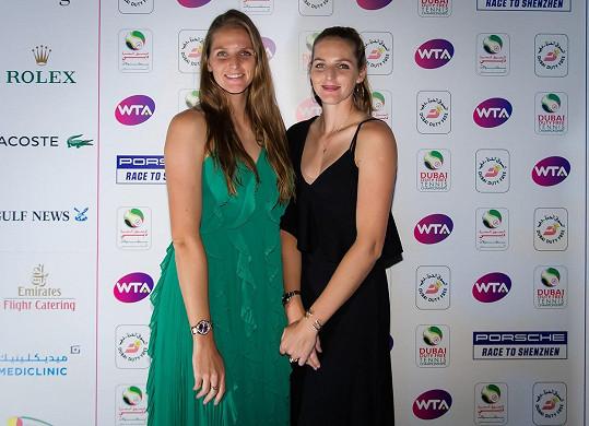 Karolína Plíšková a Kristýna Plíšková před turnajem v Dubaji.